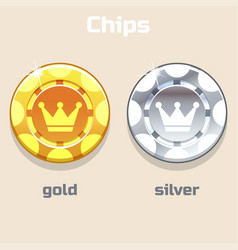 poker gold and silver chips vector image