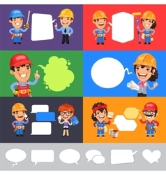 Set of a Speaking Cartoon Builders vector image vector image