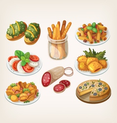 Set of italian food vector image vector image