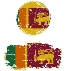 Sri Lanka round and square grunge flags vector image vector image