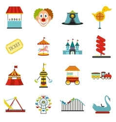 Amusement park flat icons set vector