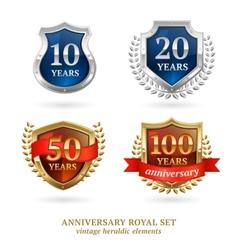 Anniversary golden heraldic labels set vector image