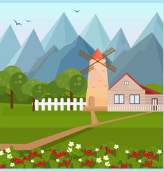Farm house in the mountains with strawberries vector