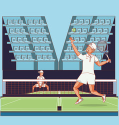men players tennis characters vector image
