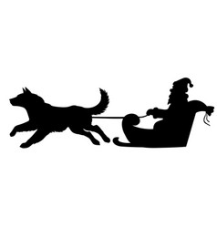 silhouette santa riding on dogs sleigh vector image vector image