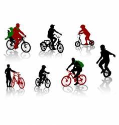 bicycle rdiers silhouettes vector image vector image