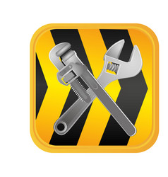 caution ribbon with wrenchs tools vector image vector image