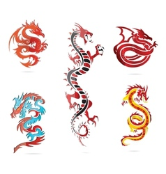 glass asia hot dragon colored sign set vector image vector image