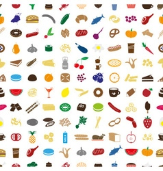 Hundred various food and drink color icons vector