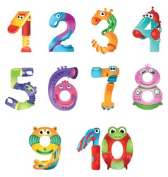Numbers like robots in fairy style vector image
