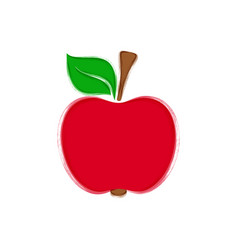 red apple with leaf vector image vector image