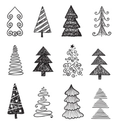 set of doodle hand drawn Christmas trees vector image vector image