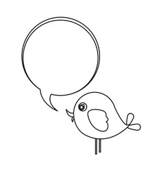 Silhouette cute cartoon bird animal icon with vector