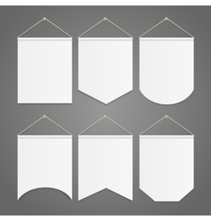 White Pennant Template Hanging on Wall Set vector image
