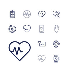13 heartbeat icons vector