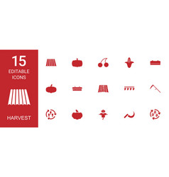 15 harvest icons vector image