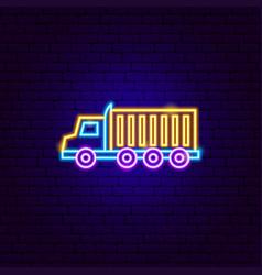 18 wheeler truck neon sign vector