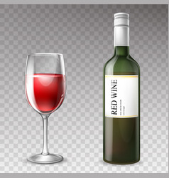 3d realistic wine bottle with wineglass vector image