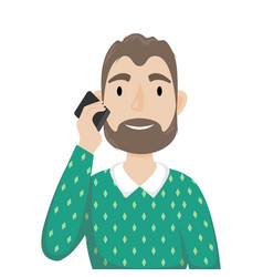 a man with a beard in a sweater over his shirt vector image