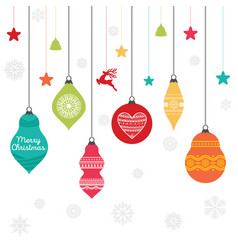 A set christmas balls with ornaments vector