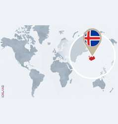 Abstract blue world map with magnified iceland vector
