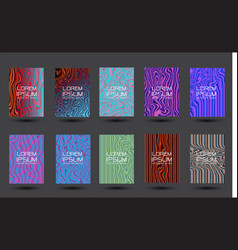 abstract liquid lines design colorful cover set vector image
