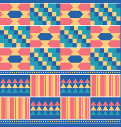 African tribal kente cloth seamless pattern vector