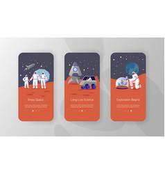Alien planet colonization mission mobile app page vector