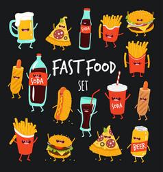 animated fast food set vector image