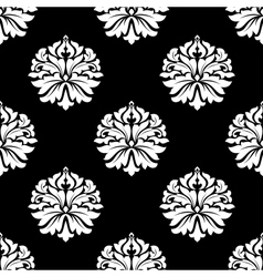 Arabesque pattern floral motifs on black vector