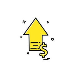 arrow up high dollar icon design vector image