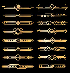 art deco dividers gold deco design lines golden vector image