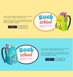 Back to school posters with open schoolbag books vector