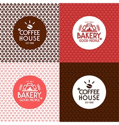 Bakery and coffee house seamless patterns vector