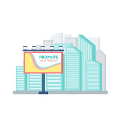 billboard standing near modern buildings vector image