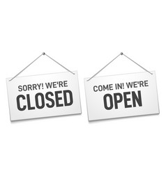 business open closed sign shop door signs boards vector image
