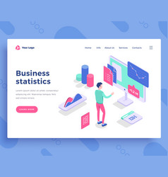 Business statistics concept office man interact vector