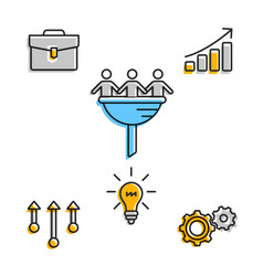 business team icons in set on white vector image