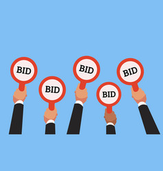 buyers hands raising auction bid paddles with vector image