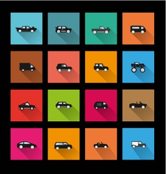 Car icons long shadow vector