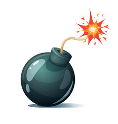 Cartoon bomb fuse wick spark icon vector