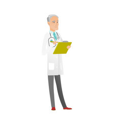 caucasian doctor holding clipboard with documents vector image
