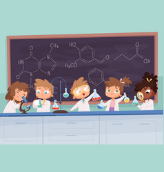 chemistry lab science boy and girls teenager vector image