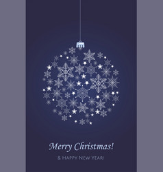 christmas card decorative ball with snowflakes vector image