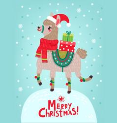 christmas card llama vector image