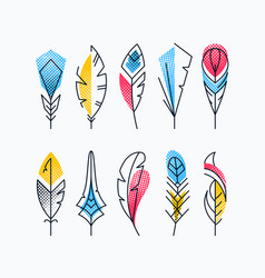 Colorful abstract feathers set vector