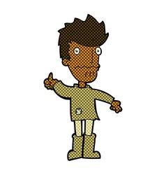 comic cartoon worried man giving thumbs up symbol vector image