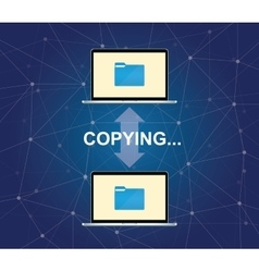 copying document between two laptop with folder vector image