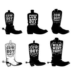 Cowboy party set cowboy boots with vector
