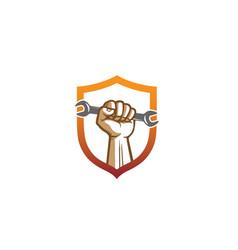 creative shield service wrench hand logo design vector image